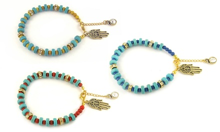 Genuine Turquoise Bracelet with Crystal and Hamsa Charm