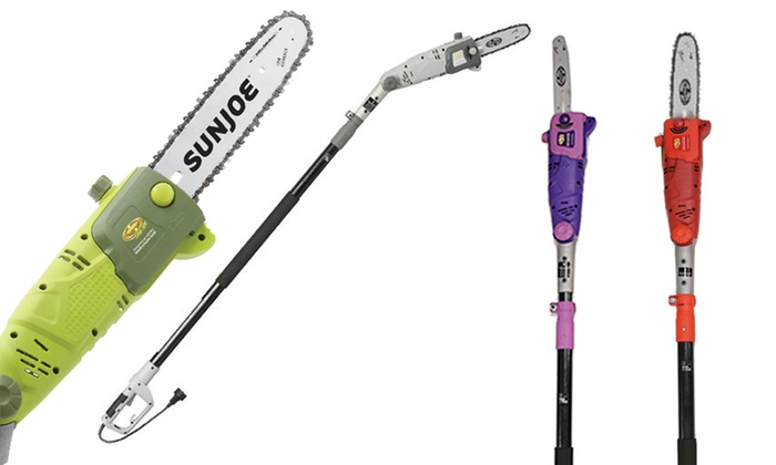 Sun Joe 10-Inch Electric Tilting Pole Saw with Free Storage Bracket (Refurbished)