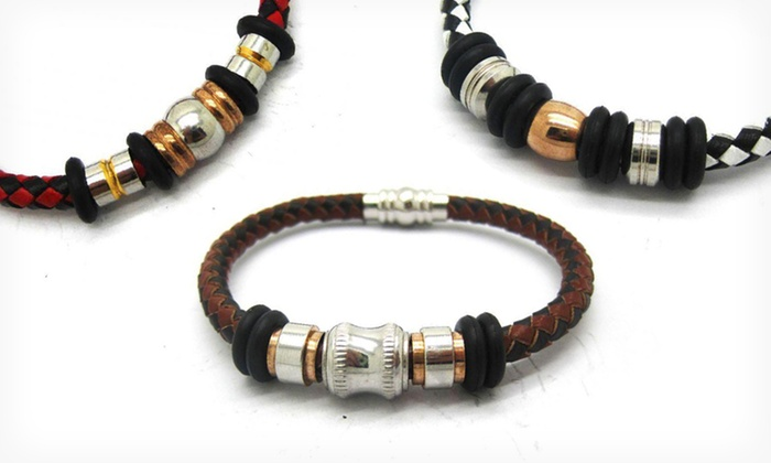 Men's Braided Leather Bracelet: $15.99 for Men's Braided Leather Bracelet ($111.19 List Price). Multiple Styles Available. Free Shipping and Returns.