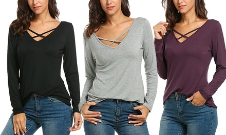 Cross Front LongSleeved Top: One $19 or Two $29 Don't Pay up to $118