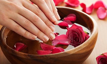 $22 for a Shellac Manicure with Scrub, Massage, and Hot Towels at Primpt & Polished Hair and Nail Boutique ($45 Value)