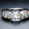 Emerald-Cut Cubic Zirconia & Fire Opal Engagement Ring by Chantel Club