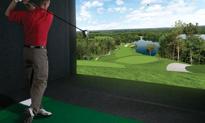 Golf Anytime - Marriott City Center: 18 Simulated Holes for Two or 9 Simulated Holes for Four at Golf Anytime (Up to 67% Off)