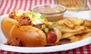 Pauly's Famous Franks N Fries (CLOSED OOB) - Multiple Locations: Gourmet Hot Dog Meals for 2 or 4, or a Two-Foot Long Hot Dog Challenge at Pauly's Famous Franks N Fries (Up to 57% Off)