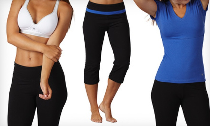 Bally Total Fitness Shaping Workout Wear: Bally Total Fitness Shaping Workout Tees, Capris, Pants, or Bras (Up to 74% Off). Multiple Colours and Sizes Available.