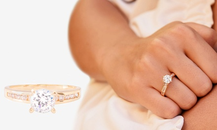 Ah! Jewellery Gold Filled Simulated Diamond Ring with Crystals from Swarovski®