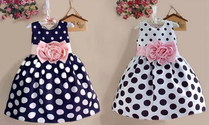 Girls' Satin Polka Dot Dresses: Girls' Satin Polka Dot and Striped Dresses