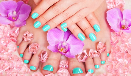 Shellac Mani-Pedis at Pretty In Pink Beauty Services by Melane Shannon (Up to 56% Off). Three Options Available.