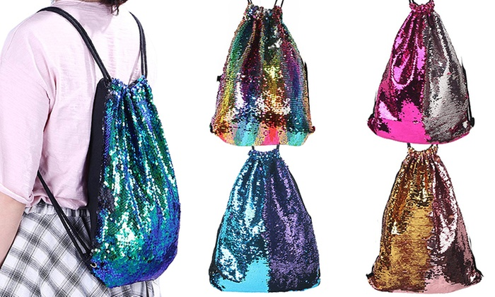 One or Two Reversible Sequin Drawstring Bags