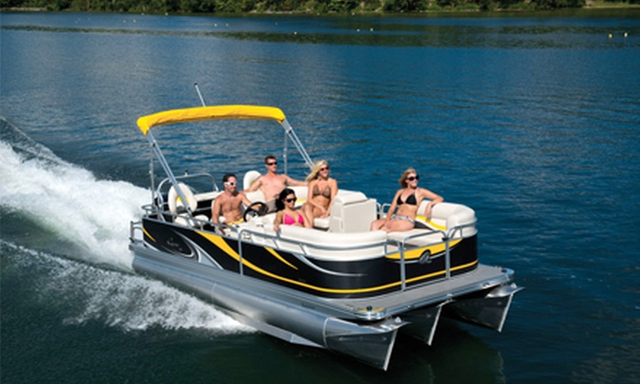 Corporate Tailgate Boat Rental - Goose Island: Pontoon Boat Rental for 8 or 12 from Corporate Tailgate Boat Rental (Up to 70% Off). Eight Options Available.