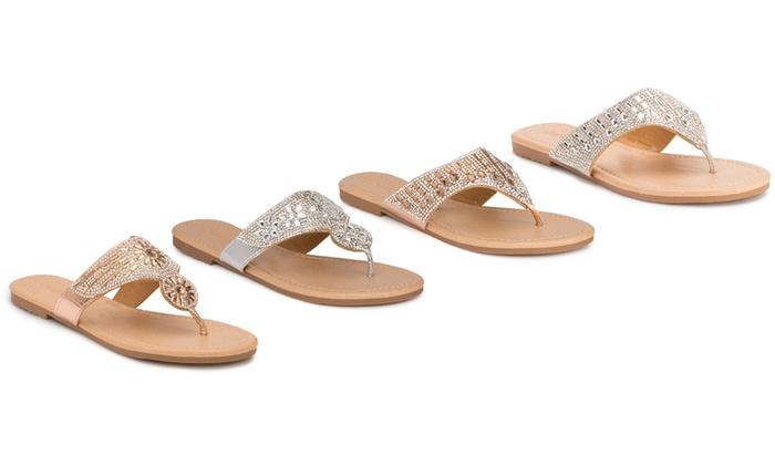 beb13c71aadd Clearance  Olivia Miller Destin Women s Embellished Thong Sandals ...
