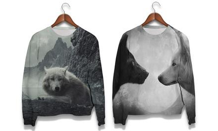 Sudadera con impresión de lobos disponible en 2 diseños por 34,99 € (50% de descuento)