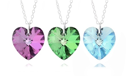 Swarovski Elements Birthstone Heart Pendants