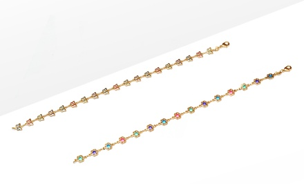 18K Gold-Plated Butterfly or Flower Cubic Zirconia Anklet. Free Returns.