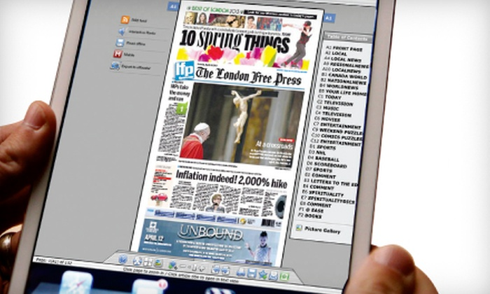 "London Free Press - Central London: $25 for a One-Year ""London Free Press"" e-Edition Subscription ($54.10 Value)"