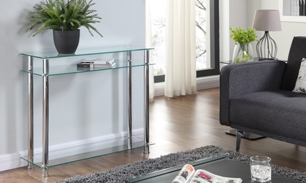Eldon Glass and Chrome Console Table