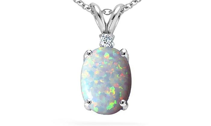 250 ctw genuine diamond and opal pendant in sterling silver groupon 250 ctw genuine diamond and opal pendant in sterling silver aloadofball Gallery