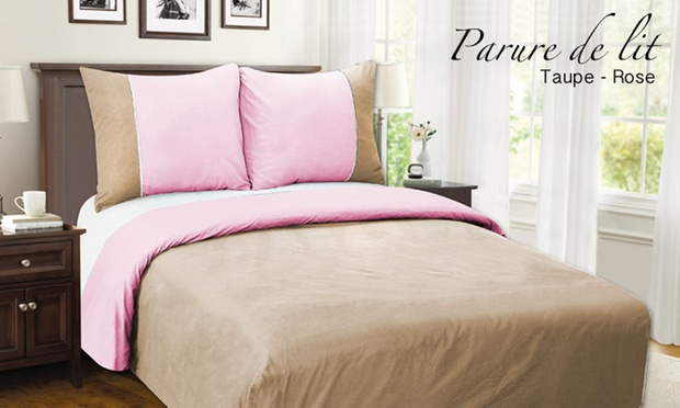 parure de lit 100 percale groupon shopping. Black Bedroom Furniture Sets. Home Design Ideas