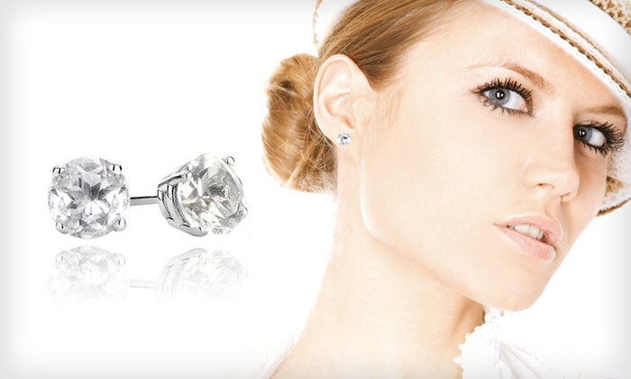 2-Carat White-Topaz Stud Earrings: $9 for One Pair of 2-Carat White-Topaz and Sterling-Silver Stud Earrings ($99.99 List Price). Free Returns.
