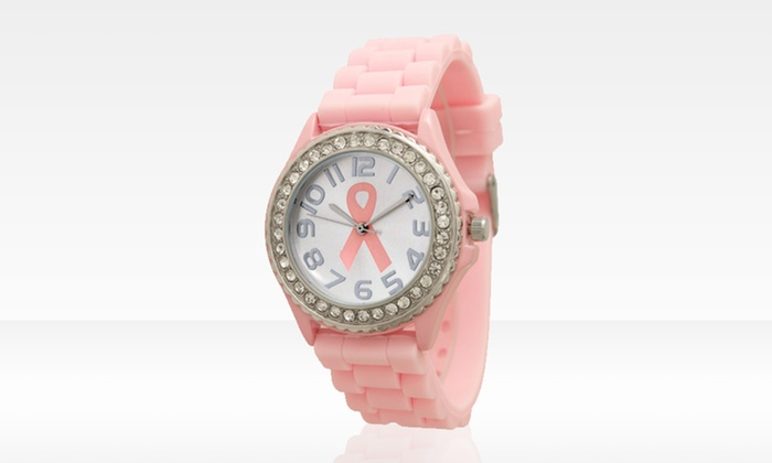 Women's Geneva Pink-Ribbon Silicone Watch: Women's Geneva Pink-Ribbon Silicone Watch. Two Styles Available.