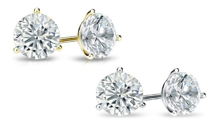 1.00 or 2.00 CTTW Certified Diamond Martini-Set Stud Earrings in 14K Gold