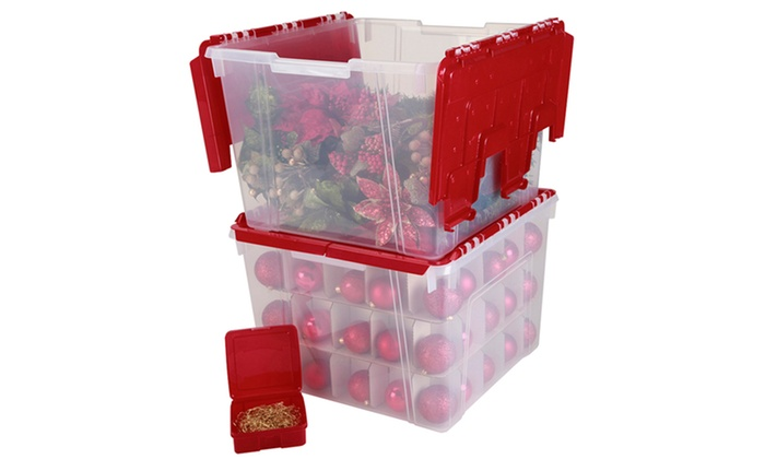 3 Piece Set Of Holiday Storage Bo With Ornament Dividers