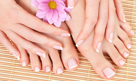 One or Three Deluxe Mani-Pedis at Hairport and a Touch of Class Tanning (Up to 55% Off)