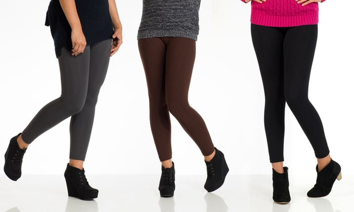 Women's Fleece-Lined Cable-Knit Leggings 6-Pack: $29.99 for a 6-Pack of Fleece-Lined Cable-Knit Leggings ($79.99 List Price). Multiple Colors. Free Shipping and Returns.