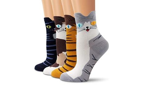 4 u 8 pares de calcetines de algodón en forma de gato