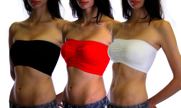 3-Pack of Seamless Bandeau Bras: 3-Pack of Seamless Bandeau Bras. Multiple Color Assortments Available.