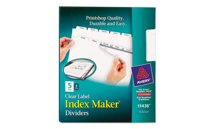 Avery Index Maker Clear Label 5-Tab Dividers: Avery Index Maker Clear Label 5-Tab Dividers. Free Returns.