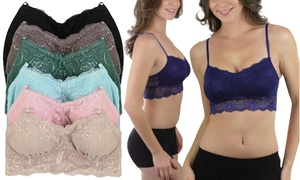 df37188f8060c Shop Groupon Women s Elongated Padded Lace Bralettes (6-Pack)