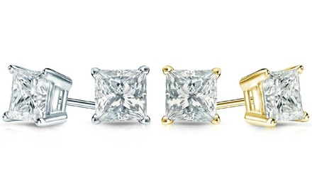 1.00 CTTW Certified Princess-Cut Diamond Earrings in 14K Gold