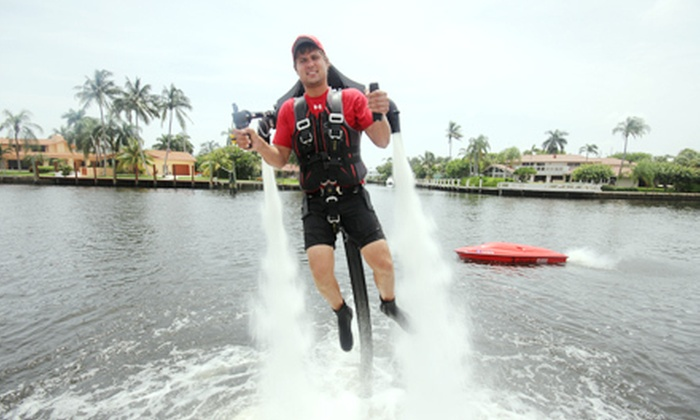 ZainoJet - North Bay Village: 30- or 45-Minute JetLev Aqua-Jetpack Ride with a Boat Ride from ZainoJet (Up to 53% Off)