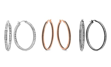 Gold-Plated or Stainless Steel Hoop Earrings with Simulated Diamonds. Multiple Options Available