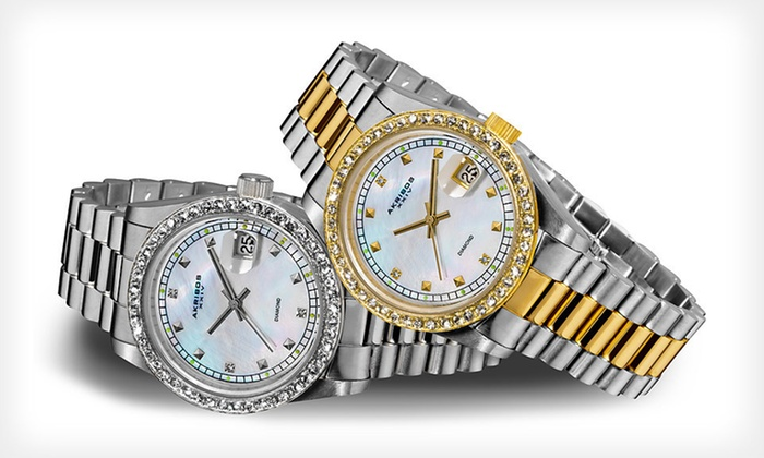 Akribos XXIV Quartz Watch: Men's and Women's Akribos XXIV Quartz Watch with Genuine Diamonds (Up to 91% Off). Free Shipping. Multiple Styles Available.