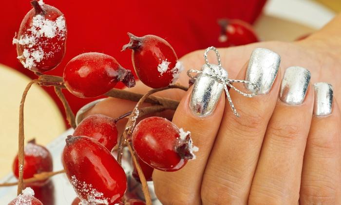 Salon La De Da - Middletown: Candy Cane Mani-Pedi with Optional $25 Gift Card at Salon La De Da (Up to 67% Off)
