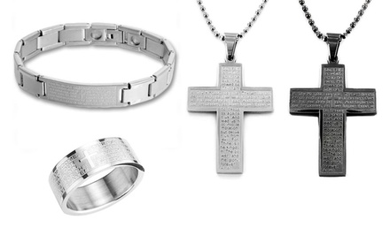 Stainless Steel Lords Prayer Jewelry. Multiple Styles Available. Free Returns.