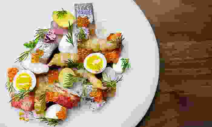 Aquavit - Midtown Center: Michelin-Starred Aquavit – Chef Bengtsson's Three-Course Prix Fixe Nordic Dinner for Two. Groupon Reservation Required.