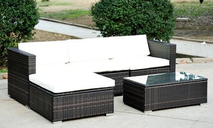 Five pc rattan furniture set groupon for Outdoor furniture groupon