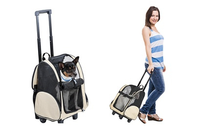 5-in-1 Deluxe Pet Carrier with Wheels