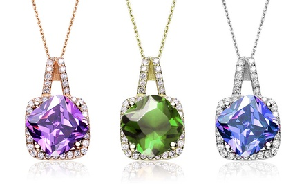 10.34 CTTW Lab-Created Gemstone Pendants in Sterling Silver