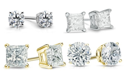 1.5 CTTW Round- or Princess-Cut Certified Diamond Stud Earrings in 14K White or Yellow Gold