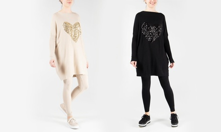 QED London Sequin Heart Knitted Oversized Top and Leggings Set