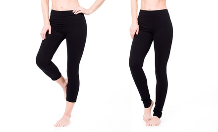 Pair of Regular or Cropped Heavy-Knit Leggings. Multiple Sizes Available. Free Returns.