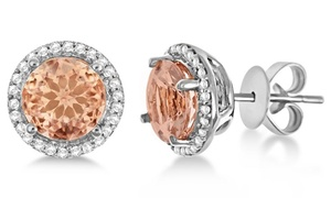 3.00 CTTW Morganite Sterling Silver Stud Earrings by Valencia Gems