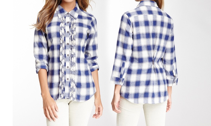 cb8013c80ad7f3 Hanna G Women's Ruffle Plaid Shirts | Groupon