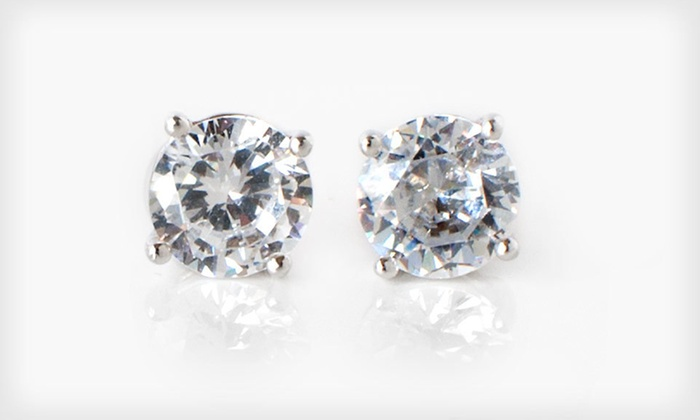 2-Carat CZ Stud Earrings: One or Three Pairs of 2-Carat Sterling-Silver CZ Stud Earrings (Up to 95% Off). Free Returns.