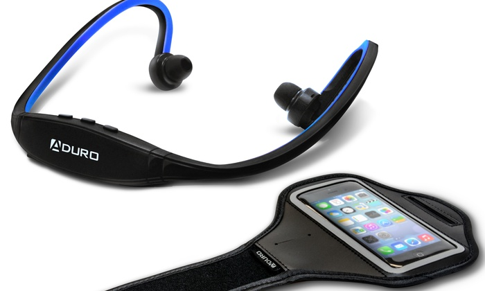 aduro wireless headset armband groupon goods. Black Bedroom Furniture Sets. Home Design Ideas