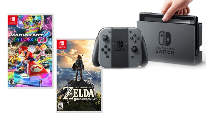 Nintendo Switch With The Legend Of Zelda And Mario Kart 8 Deluxe Groupon